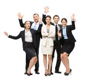Ganzaufnahme der Gruppe glücklicher Manager Stockbild