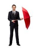 Ganzaufnahme des Geschäftsmannes mit Regenschirm Lizenzfreie Stockbilder