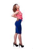 Ganzaufnahme einer Frau mit Rückenschmerzen Stockbilder
