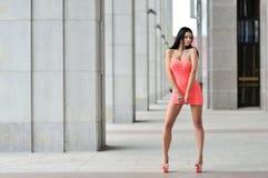 Ganzaufnahme einer sexy Brunettefrau in wenigem Rosa fas Stockfotografie