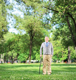 Ganzaufnahme eines älteren Mannes, der mit Stock im Park geht Stockfotografie
