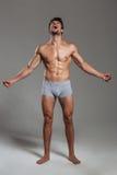 Ganzaufnahme eines hübschen muskulösen Mannschreiens Stockbild