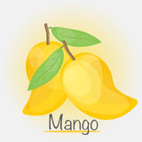 Ganze gelbe Mango, Vektorillustration Lizenzfreie Stockfotografie