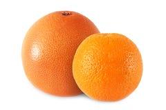 ganze Orange und Pampelmuse lokalisiert auf weißem Hintergrund stockbilder
