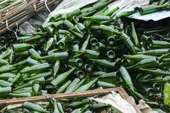 Ganze und defekte grüne Flaschen, Lügenberg auf Pflasterung Konzept: Abfallaufbereitung, Beseitigung des Abfalls und Glasgegenstä lizenzfreies stockfoto