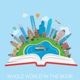 Ganze Welt im flachen Vektor der Buchstadtcollagenwissens-Bildung Lizenzfreie Stockbilder