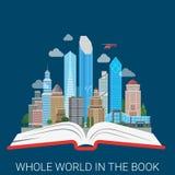 Ganze Welt im flachen Vektor der Buchstadtcollagenwissens-Bildung Stockbilder