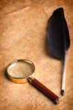 Ganzepen en Magnifier Stock Afbeelding