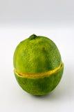 Ganzer Kalk cuted in der Mitte mit Zitronenscheibe in der Mitte stockfotografie