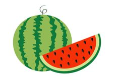 Ganzer reifer grüner Stamm der Wassermelone Samen-Ikonensatz des Scheibenschnittes halber Grüne rote runde Fruchtbeeren-Fleischsc lizenzfreie abbildung