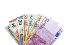 Ganzer Satz Banknoten des Euros lokalisiert Lizenzfreie Stockfotos