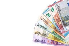 Ganzer Satz Banknoten des Euros lokalisiert Stockfotos