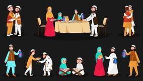 Ganzer Satz glückliche moslemische Charaktere bei der Festivalgelegenheit stock abbildung