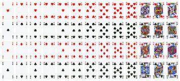 Ganzer Satz Spielkarten lokalisiert auf Weiß lizenzfreie abbildung