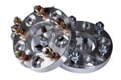 Ganzer Satz von vier neuen Metalldistanzscheiben mit Nüssen 114 3x5 20mm und 25mm Cnc-Mahlen und Drehbankindustrie Hoch-Präzision Stockbilder