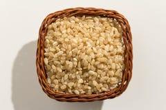 Ganzer Sprödigkeits-Reis-Samen Draufsicht von Körnern in einem Korb clo Lizenzfreie Stockfotos