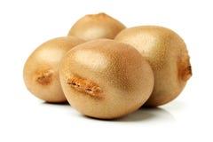 Ganzes und Schnitt goldene Kiwifruit-/kiwi (Actinidia Chinensis) Stockfotografie