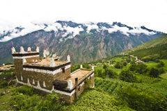 Ganzi, china, village house, temple, Royalty Free Stock Photos