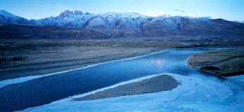 Ganzi valley frozen water Royalty Free Stock Image