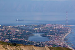 Ganziri Μεσσήνη Σικελία λιμνών τοπίων στοκ εικόνα