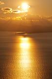 ganzirri över solnedgång Arkivfoto