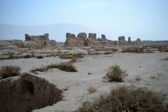 Gaochang es la ciudad antigua del oasis en Xinjiang, China fotos de archivo libres de regalías