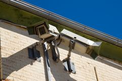 Gaol Security Cameras. Security cameras inside a gaol stock image