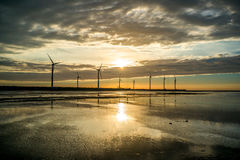 Gaomei Wetlands. Sillouette of Wind turbine array at Gaomei Wetlands Royalty Free Stock Photos
