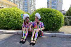 Gaoshan ethnicity women wear the national costume chat in fuan city, china Stock Photo