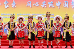 Gaoshan minority dancer. October 15, 2016, the ninth national minority month cultural activities held in the plaza of cultural affairs bureau, xiamen city, china Royalty Free Stock Photography