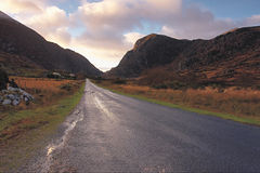 Through The Gap. Early morning on road to Gap Of Dunloe in the Kerry mountains,Ireland Royalty Free Stock Images