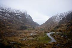 Gap av Dunloe i vintern, Killarney, Republiken Irland Arkivbild