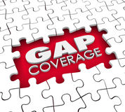 Gap Coverage Insurance Puzzle Policy Hole Supplemental Protectio. Gap Coverage 3d words in a hole or blank space were puzzle pieces are missing to illustrate Stock Photo