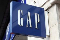 Gap-embleem reclameteken Stock Foto