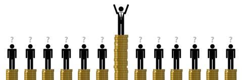 Gap entre un riche et beaucoup de pauvres personnes financent le pictogramme illustration stock