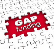 Gap Funding 3d Words Puzzle Pieces Hole Financial Need Shortfall. Gap Funding 3d words in a hole in puzzle pieces illustrating financial need or shortfall that Royalty Free Stock Photography