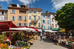 Gap, Hautes-Alpes. Summer local market on Place aux Herbes. Gap, Hautes-Alpes, France - July 26, 2014: Summer morning local market on Place aux Herbes in the royalty free stock image