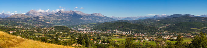 Gap, Hautes Alpes in Summer. Panoramic French Alps, France Royalty Free Stock Image