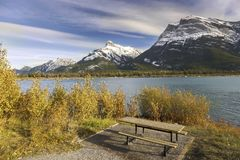 Gap Lake Picnic Area and Snowy Mountain Peaks Bow Valley Alberta Foothills stock photos