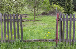 Gap in an old crumbling wooden fence. Revealing view to a deserted orchard stock photos
