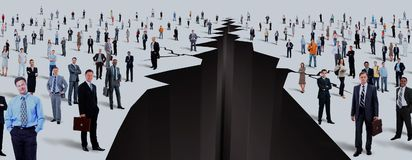 The gap between two large groups of people. stock image