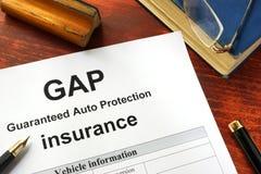 GAP-verzekeringsvorm op een lijst royalty-vrije stock fotografie