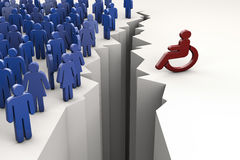 Gap between wheelchair driver. Deep gap between wheelchair driver and other people stock illustration