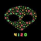 Gapa wycieczki wektoru płaski wzór z marihuaną leafs, donuts, pizza plasterki i obcy, Odizolowywający na tle tła czerń zakończeni Fotografia Stock