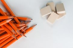 Gaphite simple  wood pencils  on table  isolated with erasers Royalty Free Stock Photography