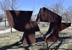 Gapinstock. This is an early Spring picture of a piece of public art titled: Gapinstock, on display at the Skokie Northshore Sculpture Park located in Skokie Stock Photography
