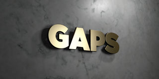 Gaps - Gold sign mounted on glossy marble wall  - 3D rendered royalty free stock illustration. This image can be used for an online website banner ad or a Royalty Free Stock Photo