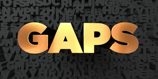 Gaps - Gold text on black background - 3D rendered royalty free stock picture. This image can be used for an online website banner ad or a print postcard Stock Photography