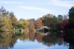Gapstow bridge in a colorfull fall morning Stock Photos