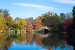 Gapstow bridge in a colorfull fall morning Stock Images